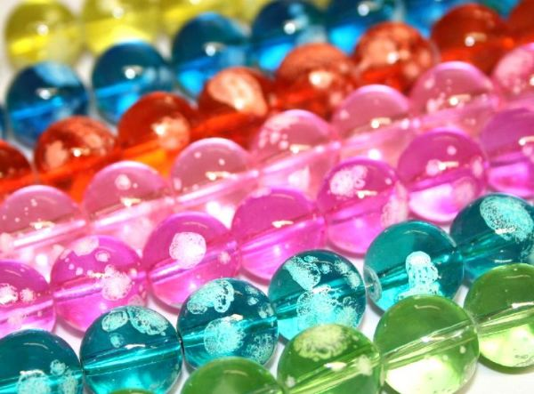 12mm Bubble gum glass beads